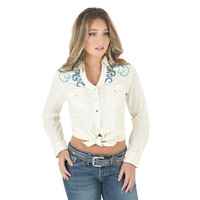 Wrangler Womens Rock 47 Y-Neck Long Sleeve Snap Shirt