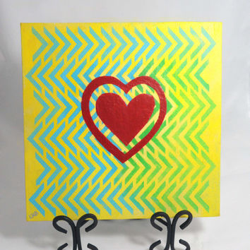 Heart Painting, Colorful Canvas Art, Bright Painting, Original, Texture, Heart, Chevron Pattern Wall Art, 12 x 12, Yellow, Green, Blue, Red