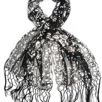Cecily Vintage Inspired Embroidered Sequin Evening Wrap, Fringe Shawl