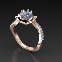 "Women's engagement ring ""Le Fleur"" diamond and white sapphire ring"