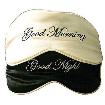"Silk Satin ""Good Morning/Good Night"" Sleep Mask"