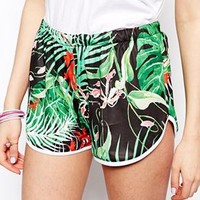 ASOS Tropical Printed Shorts With Dolphin Hem