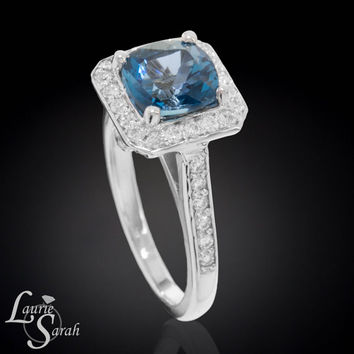 14kt White Gold London Blue Topaz Ring with Diamond Halo - LS3157