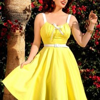 Molly Dress in Yellow with White Dots