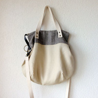 Aurelie Hobo Bag with Folded Top and Zipper Closure in European Linen in Beige