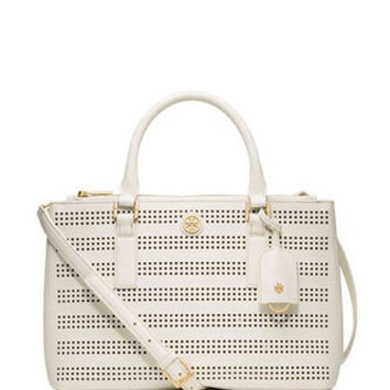 Tory Burch Robinson Mini Double Zip Perforated Tote