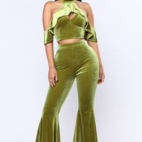Believe In The Bell Bottom Matching Set - Olive