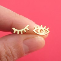Wink Wink One Eye Open One Eye Closed Stud Earrings in Gold
