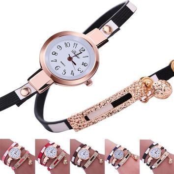 Fashion Women Charm Wrap Around Leatheroid Quartz Wrist Watch Leather Wristwatch Reloj Mujer Round Case Time Clock Lady Gift