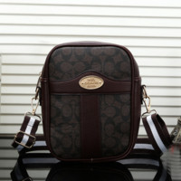 COACH Women Men Print Leather Shoulder Bag Backpack