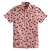 J.Crew Mens Short-Sleeve Chambray Popover In Palm Tree Print