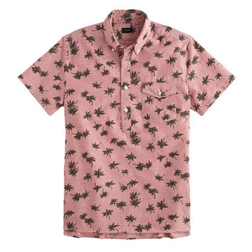 J.Crew Mens Short-Sleeve Chambray Popover Shirt In Palm Tree Print