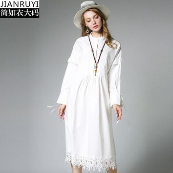 Black White Navy Color Fashion Lace Cotton Dress Autumn Dress Mandarin Collar Long Sleeve Women Dress