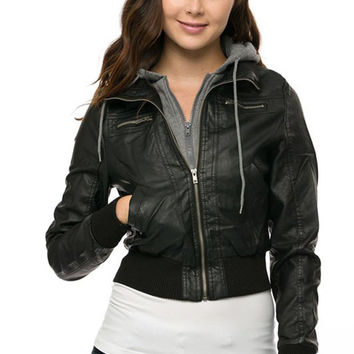 Women Solid Slim Faux Synthetic Leather & Fleece Hoodie Biker Zip Up Jacket Coat