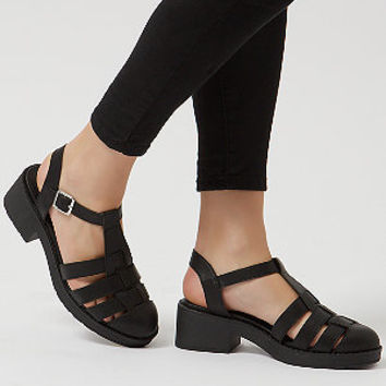 Black Chunky Caged T-Bar Sandals