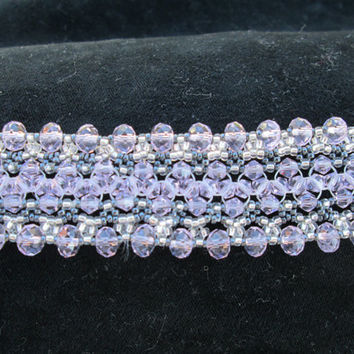 pink crystal bracelet silver pewter seed beads hand woven bridal attendant gift