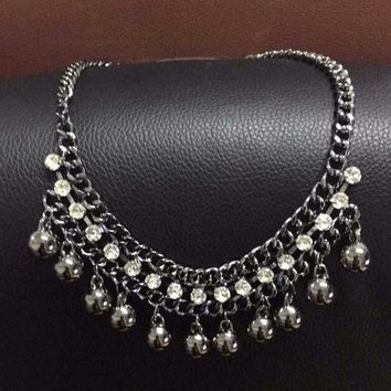 Luxury vintage Black Balls Crystal Necklace Charm collar statement necklaces & pendants for women Jewelry