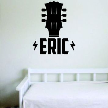 Custom Guitar Name V1 Wall Decal Sticker Bedroom Room Art Vinyl Home Decor Music Teen Kids Customized Personalized