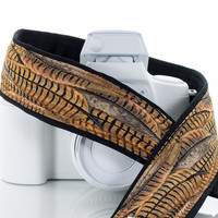 Pheasant dSLR Camera Strap, Feathers, Gold, Brown, Black, Camera Neck Strap, Men's Camera Strap, SLR, 63