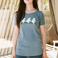 Poketo Bears on Bikes Eco Scoopneck Tee - Womens