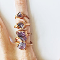 Electroformed Amethyst Ring | Raw Amethyst Ring | Amethyst and Copper | February Birthstone | Birthstone Ring