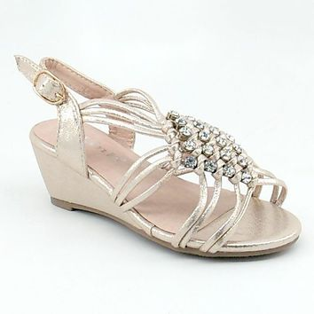 Girl's Champagne Shimmery Wedge Sandal with Clear Rhinestones