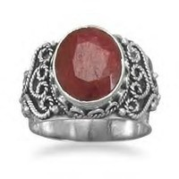 Ornate Silver Band Ruby Ring