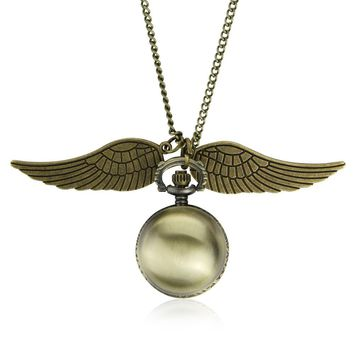 Drop Shipping Elegant Harry Golden Ball Pocket Watch Potter Wings Quartz Watch With Sweater Necklace Chain steampunk Watches