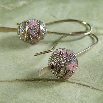 Pink Drop Earrings in Sterling Silver, Handmade Indonesian Clay Beads, Oxidized, Minimalist, Gift for her