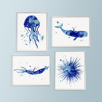 Nautical Print Set, Bathroom Decor, Coastal Wall Art, Nautical W