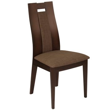 Almont Wood Dining Chair with Curved Slat Wood and Fabric Seat