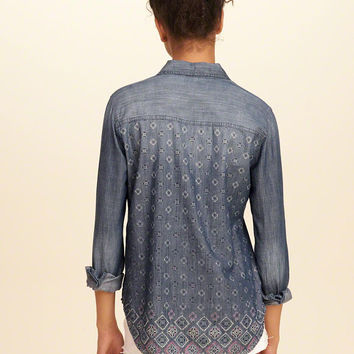 Girls Printed Back Chambray Shirt | Girls Tops | HollisterCo.com