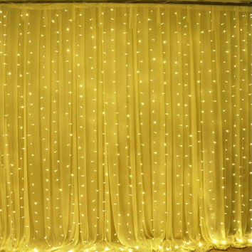 Waterproof 3X3M LED curtain string light AC220V 300led wedding fairy light  outdoor garden birthday decoration lighting
