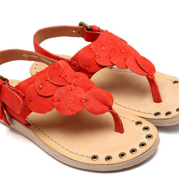 Handmade Womens Soft Leather Beach Flip Flops,Sheepskin Sandals women,Strap Shoe,Designer Shoes, Red Sandals