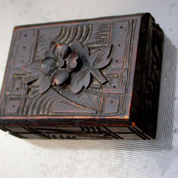French  19th century antique wood box hand carved flower leaf dark wood engraved jewelry box stamp box