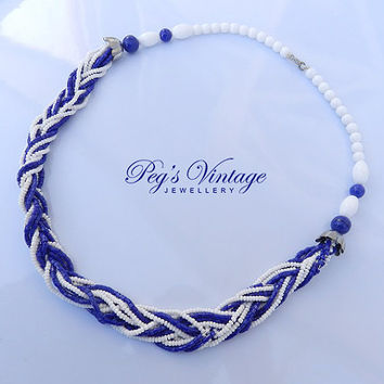 Vintage Blue And White Milk Glass Seed Bead Necklace Torsade, Braided Necklace/Choker