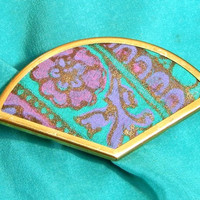 Green and Purple Silk Brooch