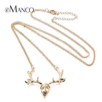 Deer head necklace women long pendant necklaces 2015 eManco brand image element animal long necklace accesorios mujer NL13728