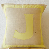 Personalized Monogram throw pillow- Burlap pillows- Yellow cotton monogram cushion - cotton applique - Decorative throw pillow- 16x16 pillow