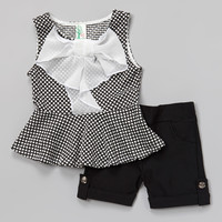 Black Polka Dot Bow Peplum Top & Shorts - Girls | something special every day
