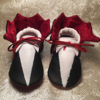Halloween Dracula Genuine Leather Baby Moccasins Shoes with red sole and matching headband of bow tie