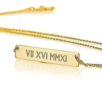 Roman Numerals Necklace - Date Necklace- Gold