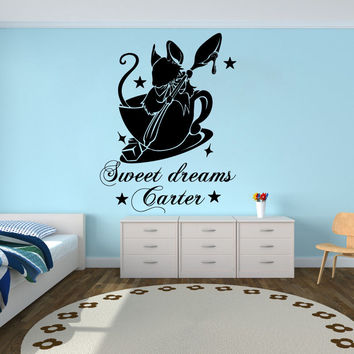 Alice in Wonderland Wall Decals Custom Personalized Name Sticker Vinyl Kids SM61