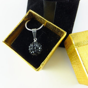 Black Pave Ball Rhinestone Pendant Necklace Prom Wedding, Disco Ball Swarovski Crystal Silver Toned Chain