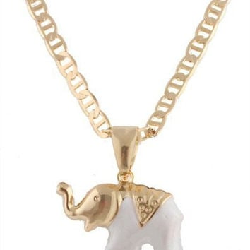 Two Year Warranty Gold Overlay White Elephant Pendant with a 17.5 Inch Valentino Chain Necklace