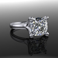 Solitaire Engagement Ring Cushion Cut Forever Brilliant Moissanite 2.50 CTW