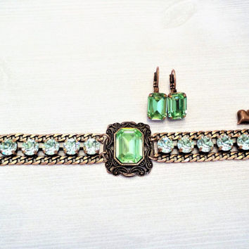 Anastasia, Swarovski Large Emerald Cut Bracelet, Antique Copper, Vintage,  Adjustable, Peridot Green, DKSJewelrydesigns, FREE SHIPPING