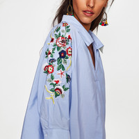 Botanical Embroidered Sleeve V Neckline Shirt -SheIn(Sheinside)