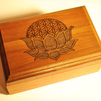Engraved Wooden Lotus Flower of Life Jewelry Box , Sacred Geometry Wooden , Nature , Custom artwork available