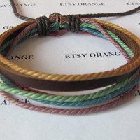 Real Leather and Multicolour Cotton Rope Woven Bracelets Adjustable 340S